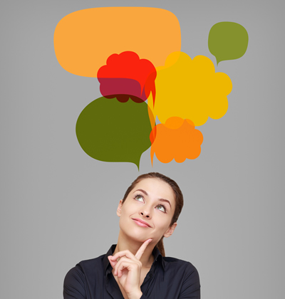 Leadership thinking happy business woman
